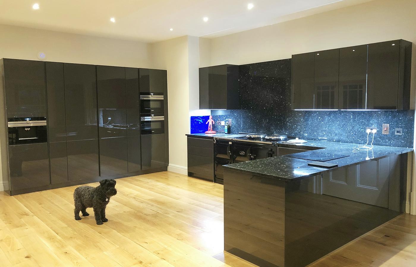 Organic Glass dark grey Gloss kitchen