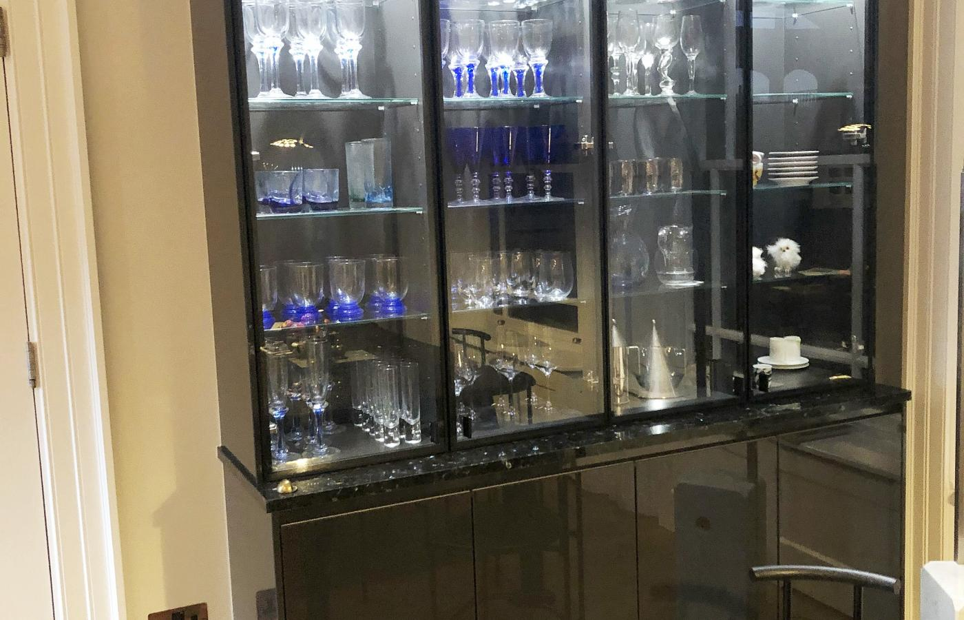 glass kitchen units with lights